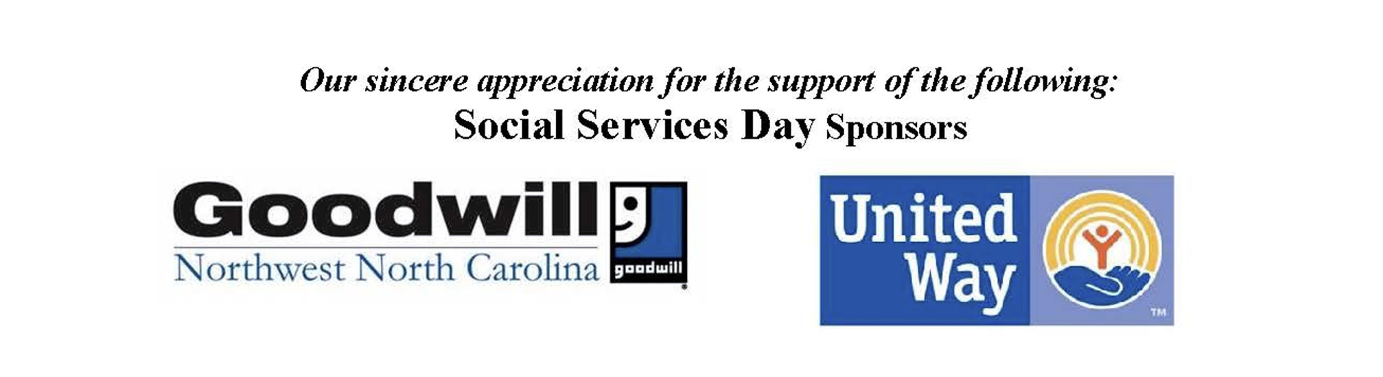 Help us thank our Social Services Day Sponsors